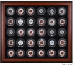 Mahogany Framed 30 Hockey Puck Display Case