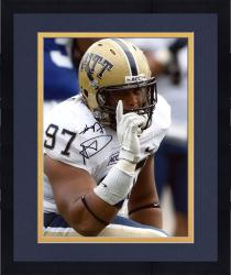 Framed Aaron Donald Pittsburgh Panthers Autographed 8'' x 10'' Pointing Photograph