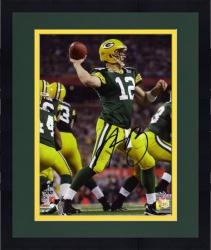 "Framed Aaron Rodgers Green Bay Packers Super Bowl XLV Autographed 8"" x 10"" Throwing Photograph"