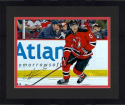 """Framed Adam Larsson New Jersey Devils Autographed Red Jersey Horizontal 16"""" x 20"""" Photograph"""