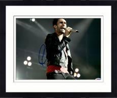 "Framed Adam Levine Autographed 11"" x 14"" Black Jacket Singing Photograph - PSA/DNA"