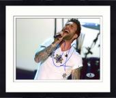 "Framed Adam Levine Autographed 8"" x 10"" Singing in White Shirt Horizontal Photograph - Beckett COA"