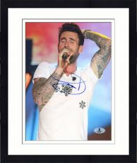 "Framed Adam Levine Autographed 8"" x 10"" Singing in White Shirt Vertical Photograph - Beckett COA"
