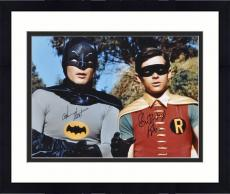 """Framed Adam West & Burt Ward Dual Autographed 16"""" x 20"""" Tree In Background Photograph"""