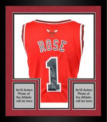 Framed adidas Derrick Rose Autographed Swingman Jersey - Red