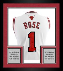 Framed adidas Derrick Rose Autographed Swingman Jersey - White