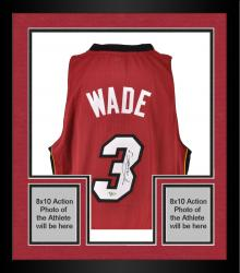 Framed adidas Dwyane Wade Miami Heat Autographed Authentic Swingman Jersey - Red