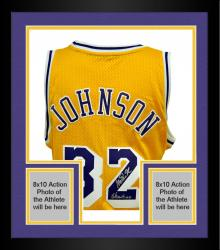 "Framed adidas Magic Johnson Los Angeles Lakers Autographed Swingman Jersey with ""Showtime"" Inscription - Yellow"