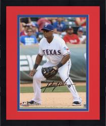 "Framed Adrian Beltre Texas Rangers Autographed 8"" x 10"" Field Position Photograph"