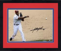 "Framed Adrian Beltre Texas Rangers Autographed 8"" x 10"" Throw With Ball Photograph"