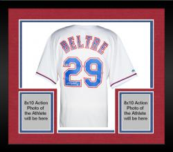 Framed Adrian Beltre Texas Rangers Autographed Majestic Replica White Jersey