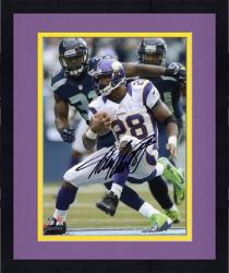 Framed Adrian Peterson Minnesota Vikings Autographed 8'' x 10'' Black Signature Photograph