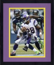 Framed Adrian Peterson Minnesota Vikings Autographed 8'' x 10'' Photograph with ''Happy Father's Day'' Inscription