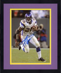 """Framed Adrian Peterson Minnesota Vikings Autographed 8"""" x 10"""" Running with Ball In One Hand Photograph"""