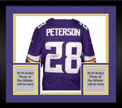 Framed Adrian Peterson Minnesota Vikings Autographed Nike Elite Purple Jersey with All Day Inscription