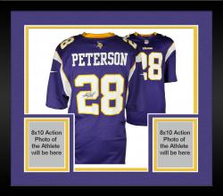 Framed Adrian Peterson Minnesota Vikings Autographed Purple Reebok Replica Jersey