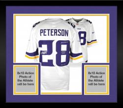 Framed Adrian Peterson Minnesota Vikings Autographed White Nike Limited Jersey with Multiple Inscriptions