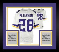 Framed Adrian Peterson Minnesota Vikings Autographed White Nike Limited New Logo Jersey
