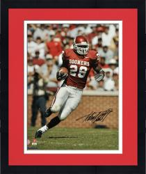 Framed Adrian Peterson Oklahoma Sooners Autographed 16'' x 20'' Vertical Red Uniform Photograph