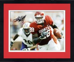 Framed Adrian Peterson Oklahoma Sooners Autographed 8'' x 10'' Horizontal Crimson Uniform Photograph