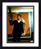 "Framed Al Pacino Autographed 11"" x 14"" Scarface Holding Gun In Air Wearing Black Suit Photograph - PSA/DNA COA"