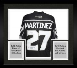 Framed Alec Martinez Los Angeles Kings 2014 Stanley Cup Champions Autographed Black Reebok Jersey with OT Winner Inscription - Mounted Memories