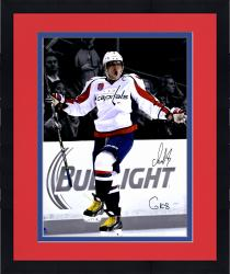 "Framed Alex Ovechkin Washington Capitals Autographed 16"" x 20"" Goal Celebration Spotlight Photograph with The Great Eight Inscription"