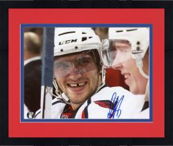 "Framed Alex Ovechkin Washington Capitals Autographed Smiling On Bench 8"" x 10"" Photo"