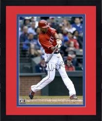 "Framed Alex Rios Texas Rangers Autographed 16"" x 20"" Red Jersey Hitting Photograph"
