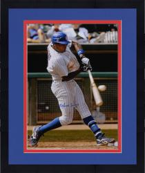 Framed Alfonso Soriano Chicago Cubs Autographed 16'' x 20'' Pinstripe Uniform Hitting Photograph