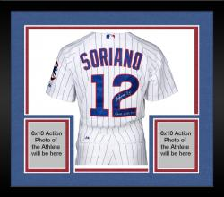 Framed Alfonso Soriano Chicago Cubs Autographed Majestic White Pinstripe 2007 Game Used Home Jersey with Game Used 2007 Inscription