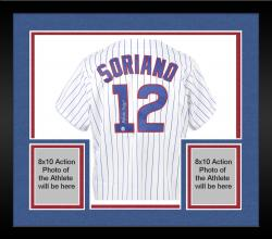 Framed Alfonso Soriano Chicago Cubs Autographed White Pinstripe Majestic Replica Jersey