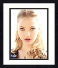 "Framed Amanda Seyfried Autographed 8"" x 10"" Pink Lips Close Up Photograph - Beckett COA"