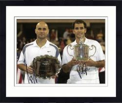 """Framed Andre Agassi & Pete Sampras Dual Autographed 8"""" x 10"""" 2002 US Open Photograph"""