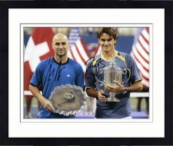 """Framed Roger Federer & Andre Agassi Dual Autographed 8"""" x 10"""" Trophys Photograph"""