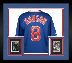 Framed Andre Dawson Chicago Cubs Autographed Cooperstown Collection Blue Jersey  with Multiple Inscriptions-#1 of a Limited Edition of 24