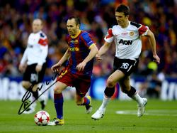 """Framed Andres Iniesta F.C. Barcelona Autographed 16"""" x 12"""" Dribbling Photograph"""