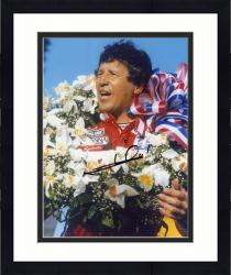 Framed Mario Andretti Indy Car Autographed 8'' x 10'' With Flowers Photograph