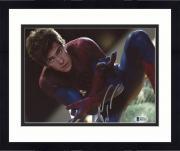 "Framed Andrew Garfield Autographed 8"" x 10"" Spiderman Kneeling Photograph - Beckett COA"