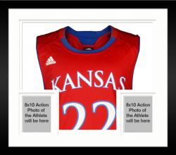 Framed Andrew Wiggins Kansas Jayhawks Autographed Red Replica Jersey