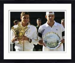 "Framed Roger Federer & Andy Roddick Dual Autographed 8"" x 10"" 2009 Wimbledon Photograph"