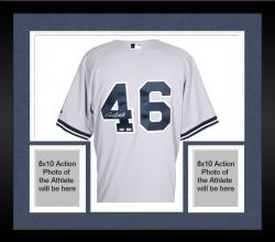 Framed Andy Pettitte New York Yankees  Autographed Authentic Grey Jersey