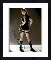 "Framed Angelina Jolie Autographed 11"" x 14"" Tomb Raider Photograph - PSA/DNA"