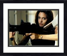 "Framed Angelina Jolie Autographed 11"" x 14"" with Gun Photograph - PSA/DNA"