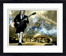 "Framed Angus Young Autographed 11"" x 14""  AC/DC Playing Guitar With Train In Background Photograph - PSA/DNA COA"