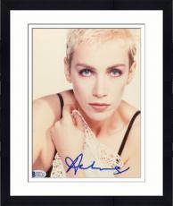 "Framed Annie Lennox Autographed 8""x 10"" Eurythmics Holding White Shirt Photograph - Beckett COA"