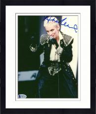 """Framed Annie Lennox Autographed 8""""x 10"""" Eurythmics Singing Photograph - Beckett COA"""
