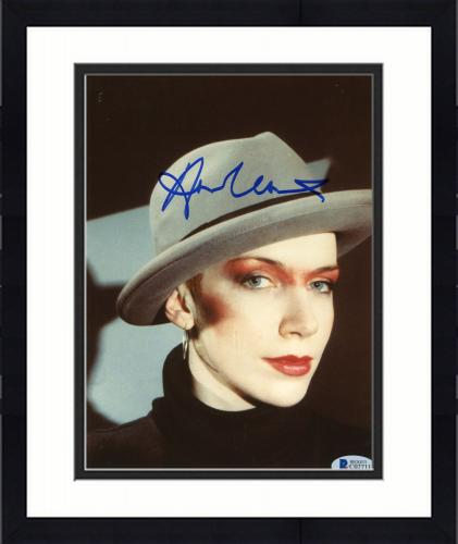 "Framed Annie Lennox Autographed 8""x 10"" Eurythmics Wearing Hat Photograph - Beckett COA"