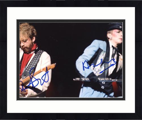"Framed Annie Lennox & Bobby Hatfield Autographed 8""x 10"" Eurythmics Playing Guitars Photograph - Beckett COA"