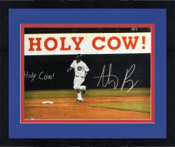 "Framed Anthony Rizzo Chicago Cubs Autographed 16"" x 20"" Holy Cow Photograph with Holy Cow Inscription"